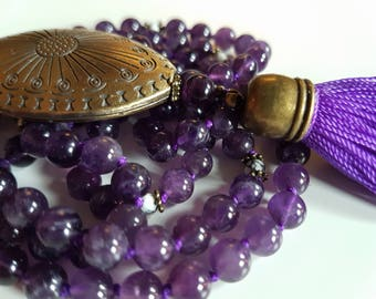 Serenity Mala - Natural Amethyst - Howlite - 108 beads meditation necklace - Yoga jewelry - Buddhist Japa Mala  - Yogi gift - gemstone bead