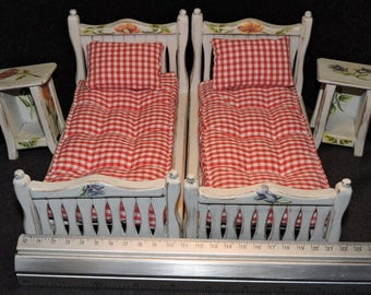 Vintage, Hand Made, Bed x 2 + Night stand x 2, Doll house furniture , 1/10