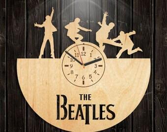 Beatles Wooden Clock, John Lennon, Paul McCartney, Music Gift For Men, Wall Clock Large, Valentines Day Gift, Handmade Gifts, Handmade Clock