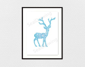 Geometric Ice Deer, Colorpencil, Nursery, Wall, Art, Decoration, Gift, Drawing, Illstration