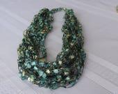 Green Goddess Ladder Yarn Crocheted Necklace