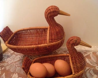 Vintage wicker duck baskets