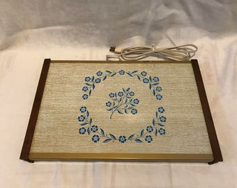 Mid Century Cornflower Pattern Warming Tray - Works