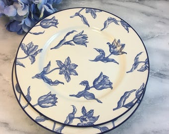 """Set of 2 Royal Stafford 11"""" Dinner Plates Blue Tulips Flowers Foral on White Transferware Style"""