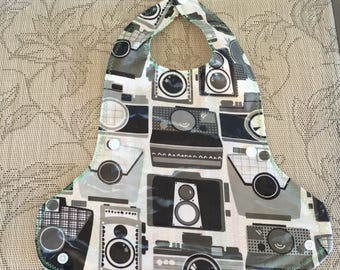 """Baby reversible laminated cotton bibs with """"cuff"""""""