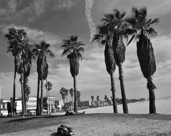 A dreamy nostolgic black and white photo of the famous Venice Beach of Los Angeles, Ca. Great decoration piece ideal for any wall or room.