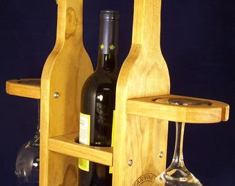 Standard Size Wine Bottle Tote with Glasses