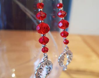 Red Glass Bead Dangle Earrings with Tree charm