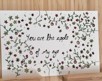 Valentines - You are the apple of my eye- Typogoraphy and Illustration- Quote