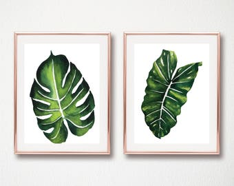 set of 2 Monstera Print - Botanical Wall Art, Leaf Printable, Green Plant Print, Minimalist Poster, Scandinavian Wall Art, Monstera Leaf