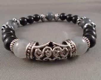 Black, white and silver bracelet