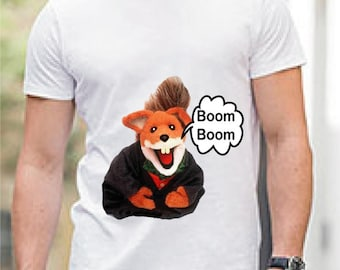 Basil Brush inspired custom t-shirt, with Boom Boom wording vintage character