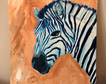 Original Zebra Portrait, acrylic on Canvas Board, 9x12