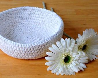 White crochet basket, cream, home decor, simple living, boho decor, rustic decor, cotton rope, cotton thread