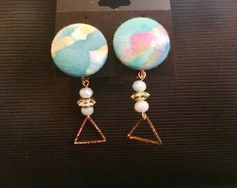 Handmade Blue button earrings