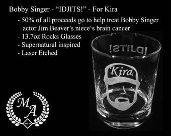 "Bobby Singer ""IDJITS!"" Supernatural Glass - 50% proceeds to to help fund Jim Beaver's nieces medical expenses,"