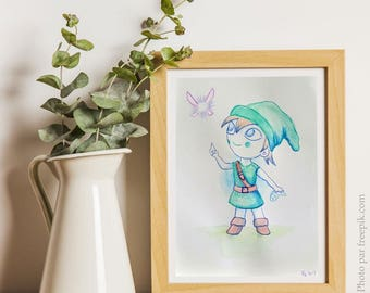 Aquarelle originale (fan-art) Link et Navi / OOAK original watercolor, fan-art, Link and Navi from Zelda.