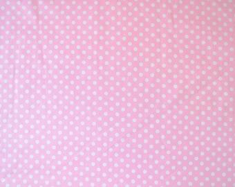 100 % coton tissu rose à pois blancs