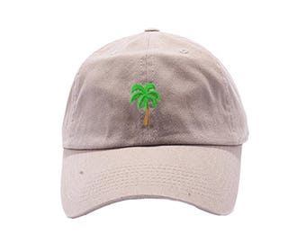 Palm Tree Dad Hat / Custom Embroidered Hats / Embroidery Baseball Cap / Khaki Dad Cap / FREE SHIPPING