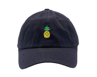 Pineapple Dad Hat / Custom Embroidered Hats / Embroidery Baseball Cap / Black Dad Cap / FREE SHIPPING