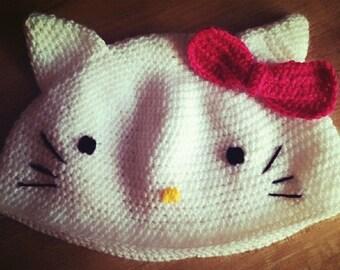 Nanny Women Beanie Cap-cat cat-White