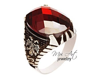 NEW Handmade 925 Sterling Silver Mens Ring Ottoman Collection Vintage Mould Ruby Quartz Double Head Eagle All Sizes EXPRESS SHIPPING