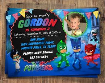 PJ Masks Birthday Invitation, PJ Masks Invitation, PJ Masks Party, Pj Masks Birthday Party, Pj Masks invite, Pj Masks Boy Invitations