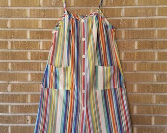 70s terry cloth multi colored striped dress