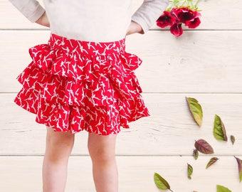 Red girl ruffle skirt