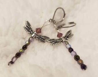 Misty Lavender Dragonfly Earrings