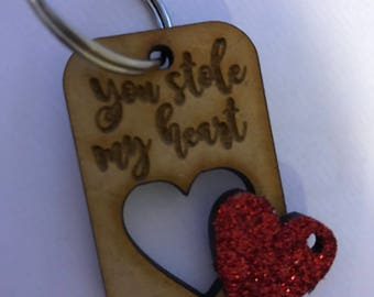 Valentines / heart / you stole my heart keyring