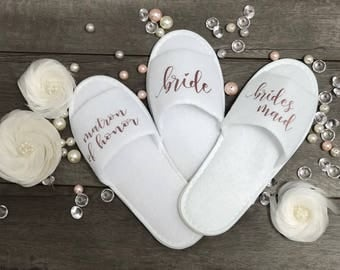 Personalized Bridesmaid Slippers-Bridesmaid Gifts-Bridal Party Slippers-Gift for Bride-Bridesmaid Proposal-Wedding Slippers-Spa Slippers