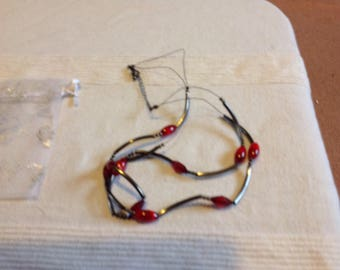 Unique black and red two strand necklace