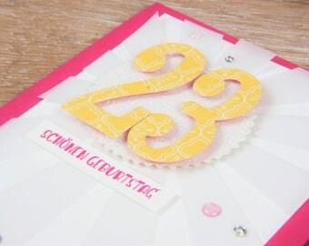 Birthday card sun Yellow, with envelope, handmade