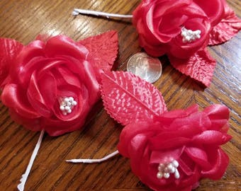Large Red Roses 4 Pieces for sewing/doll making/hairbow/scrapbooking/crafts, etc.