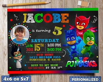 Pj Masks Invitation, Pj Masks Birthday, Pj Masks Party, Pj Masks Birthday Invitation, Pj Masks Invitation with photo, Pj Masks Favor Tags