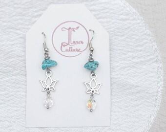 Turquoise Lotus Earrings