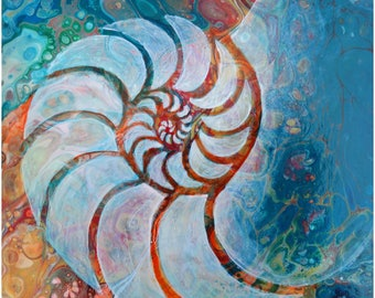 Abstract Fluid Acrylic Painting, unique, embellished with a semi realistic Nautilus Shell
