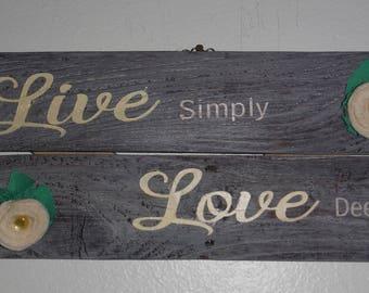Live Simply Love Deeply wall decor
