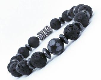 Lavastone, snowflake obsidian and hematite bracelet, beaded bracelet, mens jewelry, mens accessories, menswear, mens bracelet