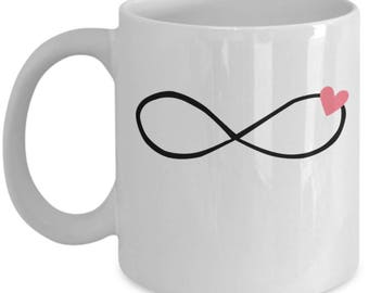 Infinity Heart - Cute White & Black Ceramic 11 oz or 15 oz Mug - Love Valentine's Day Mother's Day Birthday Mom Wife Girlfriend Bestie Gift