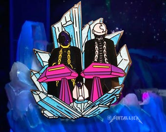 Starbots Hard Enamel Glitter Pin - Daft Punk The Weeknd Grammy Music Lapel Pin Accessory