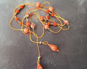 Orange Beaded Tie Necklace