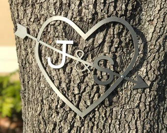 Tree engravable heart with initials