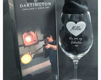 Personalised Dartington Crystal Large Wine Glass with Heart