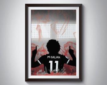 Mohamed Salah Football Print - Liverpool Poster - Football Poster - Wall Art Print- Framed Print - Minimalist Silhouette