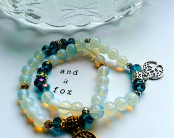 Opalite and Crystal Beads Bracelet