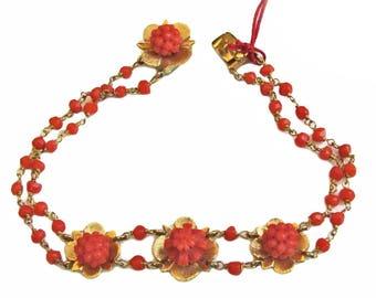 Red Coral Gold Bracelet