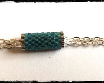 Silver chain and weaving in Miyuki Beads Bracelet
