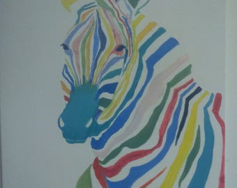 Modern painting colorful Zebra